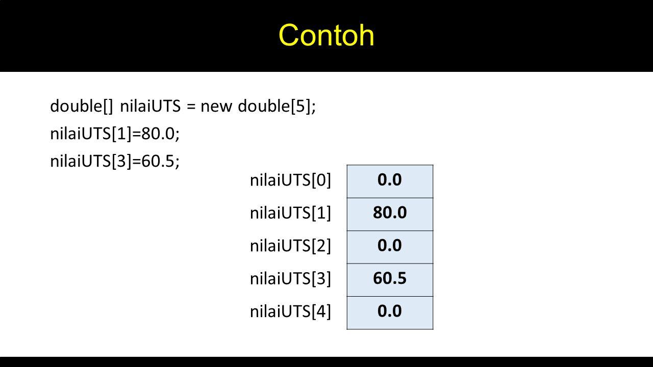 Contoh double[] nilaiUTS = new double[5]; nilaiUTS[1]=80.0; nilaiUTS[3]=60.5; nilaiUTS[0] nilaiUTS[1]